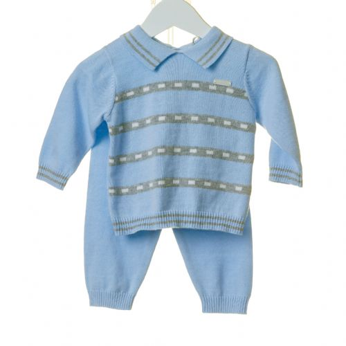 Blue Soft Knit Collared set with Grey Stripe